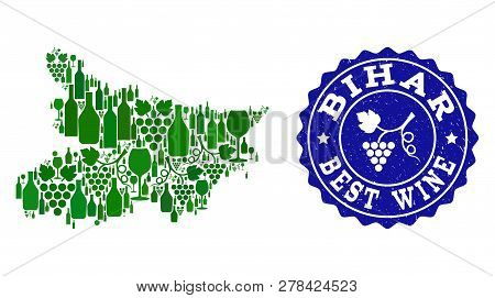 Vector Collage Of Wine Map Of Bihar State And Best Grape Wine Grunge Watermark. Map Of Bihar State C