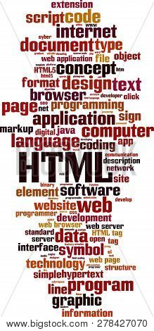 Html Word Cloud Concept. Vector Illustration On White