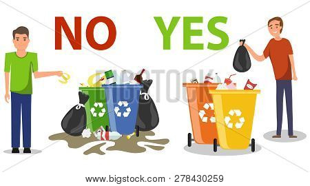 Person Disposed Improperly Throwing Away Garbage On The Floor. Correct And Wrong Behavior Of Litteri