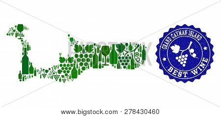 Vector Collage Of Wine Map Of Grand Cayman Island And Best Grape Wine Grunge Seal Stamp. Map Of Gran