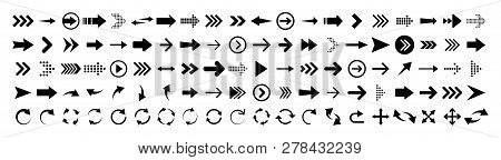 Arrows Set Of 100 Black Icons. Arrow Icon. Arrow Vector Collection. Arrow. Cursor. Modern Simple Arr