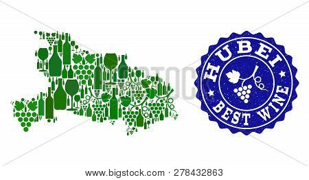 Vector Collage Of Wine Map Of Hubei Province And Best Grape Wine Grunge Seal. Map Of Hubei Province