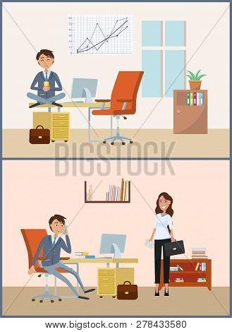 Man Relaxing On Break, Businessman Working In Office Vector. Chief Executive Drinking Tea Director W