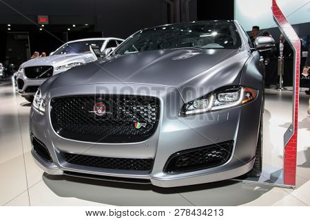 NEW YORK, NY-MARCH 28, 2018: Jaguar XJL shown at the New York International Auto Show 2018, at the Jacob Javits Center. This was Press Preview Day One of NYIAS.