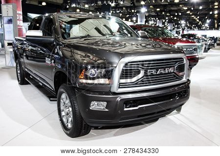NEW YORK, NY-MARCH 28, 2018: Dodge Ram Limited shown at the New York International Auto Show 2018, at the Jacob Javits Center. This was Press Preview Day One of NYIAS.