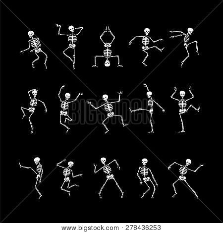 Human Skeletons In Different Poses. Skeleton Dance Vector Set