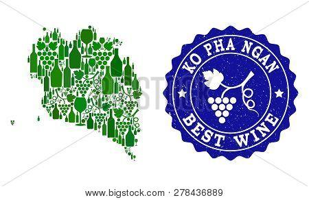 Vector Collage Of Wine Map Of Ko Pha Ngan And Best Grape Wine Grunge Seal Stamp. Map Of Ko Pha Ngan