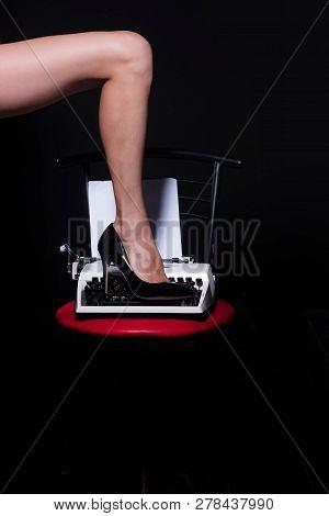 Perfect Legs. Vintage Typewriter. Modern Fashion. Fetish Wear Shoes On Leg Of Girl. Seducing You. Lo