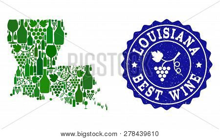 Vector Collage Of Wine Map Of Louisiana State And Best Grape Wine Grunge Stamp. Map Of Louisiana Sta