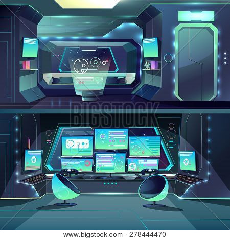 Vector Captain Cabin In The Futuristic Spaceship With Datacenter, Interfaces And Servers. Cartoon In