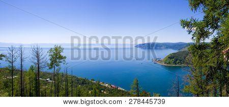 Awe View On The Source Of The Angara River At Lake Baikal In Listvyanka Village. Summer Landscape On