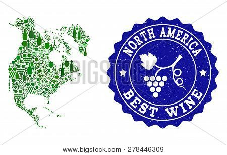 Vector Collage Of Wine Map Of North America And Best Grape Wine Grunge Seal Stamp. Map Of North Amer