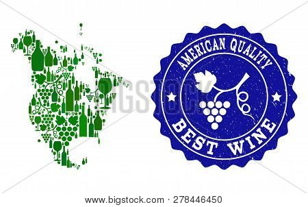 Vector Collage Of Wine Map Of North America And Best Grape Wine Grunge Stamp. Map Of North America C