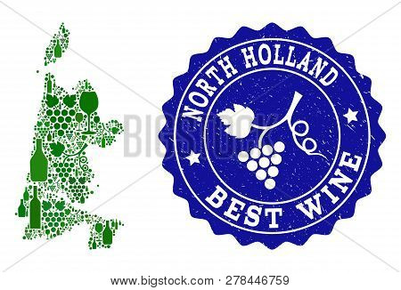 Vector Collage Of Wine Map Of North Holland And Best Grape Wine Grunge Seal Stamp. Map Of North Holl
