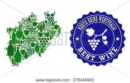 Vector Collage Of Wine Map Of North Rhine-westphalia State And Best Grape Wine Grunge Watermark. Map