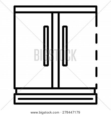 Commercial Freezer Icon. Outline Commercial Freezer Vector Icon For Web Design Isolated On White Bac