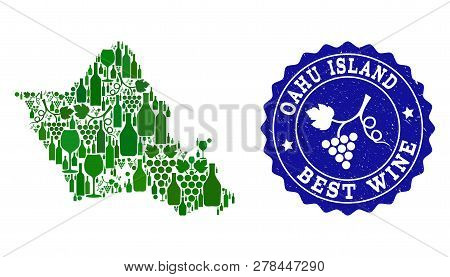 Vector Collage Of Wine Map Of Oahu Island And Best Grape Wine Grunge Stamp. Map Of Oahu Island Colla