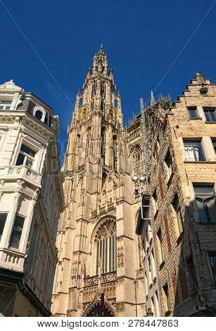 Amazing Bell Tower With Golden Watch Of The Cathedral Of Our Lady. Tower Is The Highest In The Benel
