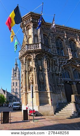 Amazing Medieval Building Of City Hall (stadhuis Gent) In Ghent, Belgium. It Is One Of The Most Popu