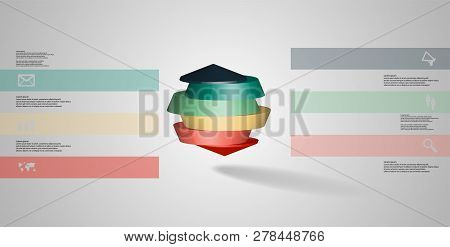 3D Illustration Infographic Template With Round Octagon Divided To Six Parts