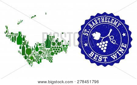 Vector Collage Of Wine Map Of Saint Barthelemy And Best Grape Wine Grunge Stamp. Map Of Saint Barthe