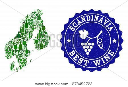 Vector collage of wine map of Scandinavia and best grape wine grunge stamp. Map of Scandinavia collage composed with bottles and grape berries bunches. poster