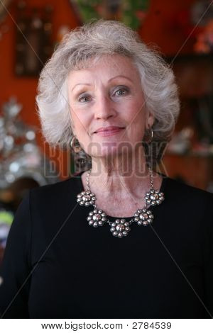Mature Woman Wearing Silver Jewelry