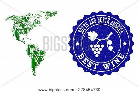 Vector Collage Of Wine Map Of South And North America And Best Grape Wine Grunge Seal. Map Of South