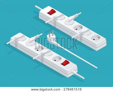 Electrical Extension Cord With Plugs, Extension Lead. Electric Extension Cord Isolated On White Back
