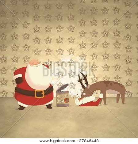 Santa and a hungry reindeer (illustration or Christmas Card design)