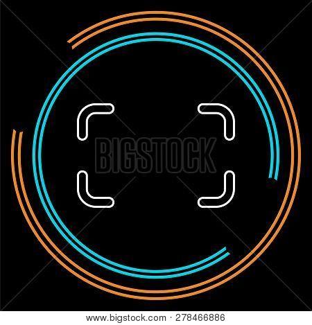 Autofocus Icon - Digital Photo Camera Illustration, Vector Image Concept. Thin Line Pictogram - Outl