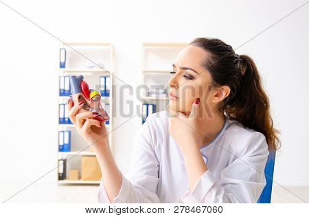 Young female doctor cardiologist sitting at the hospital