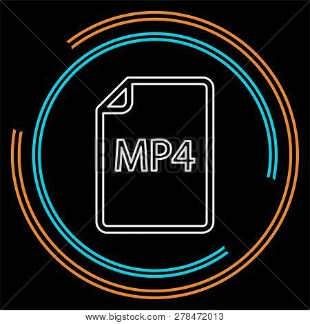 Download Mp4 Document Icon - Vector File Format Symbol. Thin Line Pictogram - Outline Stroke