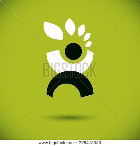 Vector Illustration Of Happy Abstract Individual With Raised Hands Up. Go Green Idea Creative Logo.