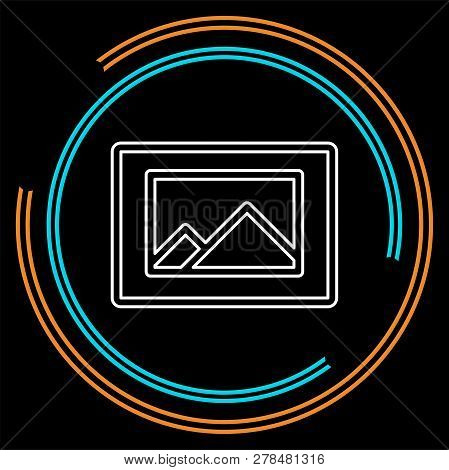 Photo Gallery Icon - Photo Gallery Element - Picture Frame Symbol. Thin Line Pictogram - Outline Str