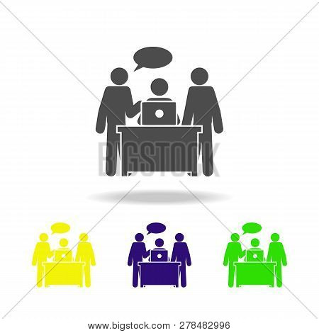 Discussion Of Work Icon. Element Of Colleagues Icon For Mobile Concept And Web Apps. Detailed Discus