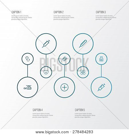 Drug Icons Line Style Set With Drugs, Injection, Thermometer And Other Copter  Elements. Isolated  I