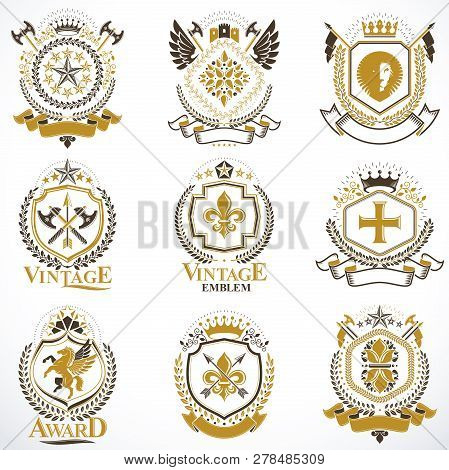 Heraldic Vector Signs Decorated With Vintage Elements, Monarch Crowns, Religious Crosses, Armory And