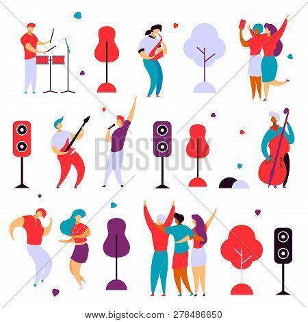 Modern Cartoon Flat Characters Set For Jazz, Rock Music Fest Concept-singer, Musicians, Guitar, Sax,