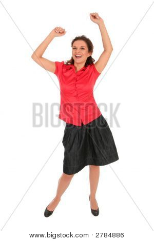 Happy Woman With Arms Raised