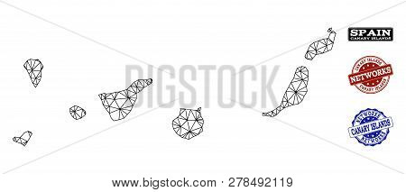 Black Mesh Vector Map Of Canary Islands Isolated On A White Background And Scratched Watermarks For