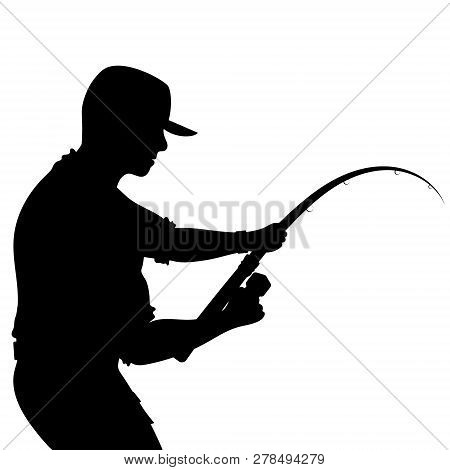 Fisherman With A Fishing Rod Silhouette Vector