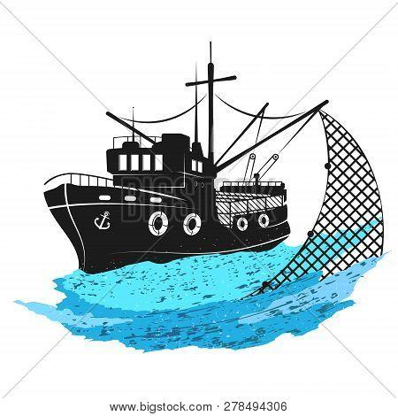 Fishing Boat With Nets Vector Symbol Logo