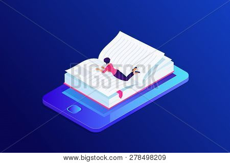 Isometric Concept Of E-learning With Book In Mobile Device. Person, Woman Lying And Reading 3d Ebook