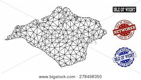 Black Mesh Vector Map Of Isle Of Wight Isolated On A White Background And Rubber Watermarks For Netw