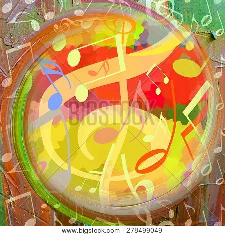 Music Background, Bright Colorful Design With Dancing Musical Notes