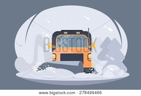 Process Of Snow Removal From Road By A Snowplow. Winter Highway Service.