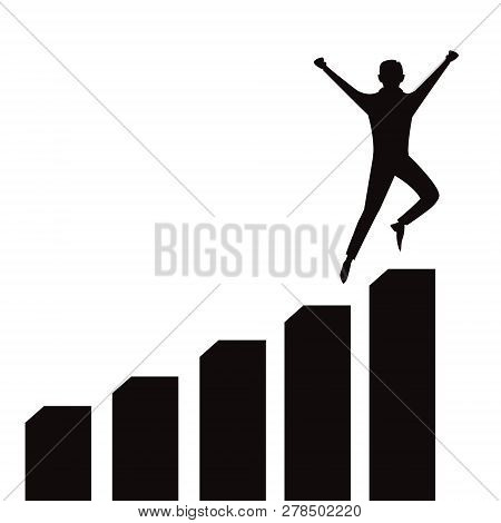 Vector Illustration Of Successful Businessman Celebrating Victory On Top Of Graphic Chart, Black And