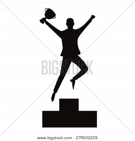 Vector Illustration Of Successful Businessman Celebrating Victory On Top Winning Podium, Black And W