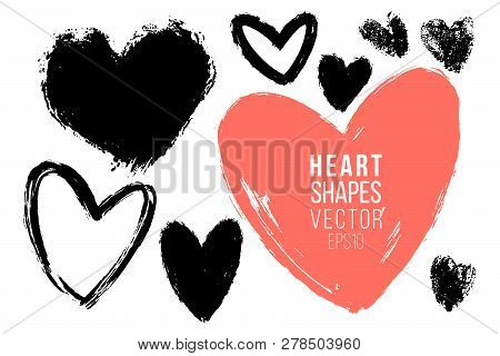 Vector Collections Of Hand Drawn Grunge Valentine Hearts Isolated On Transparent Background. Heart S